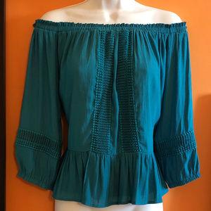 Off Shoulder teal blouse, ruffles, crochet trim